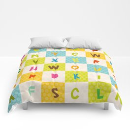 alphabet  from A to Z. Polka dot background with green blue orange square Comforters