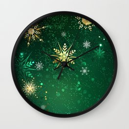 Gold Snowflakes on a Green Background Wall Clock