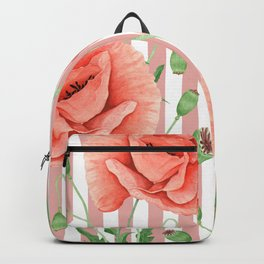 Poppies Dusty Pink Stripes Backpack