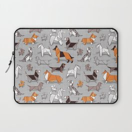 Origami doggie friends // grey linen texture background Laptop Sleeve