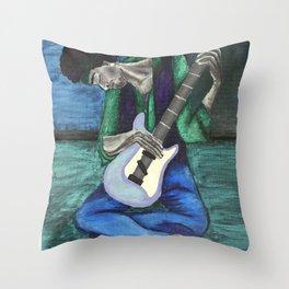 Jimi's Old Guitar Throw Pillow