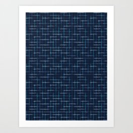 Hand Drawn Check Pattern Indigo Blue Grunge Grid Art Print