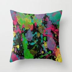 Paint Splatter on Black Background Throw Pillow