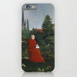Fine french art, Portrait of a Woman in a Landscape by Henri Rousseau iPhone Case