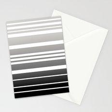 Bay Ombre Stripe: Gray Black Stationery Cards