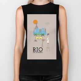 Rio - In the City - Retro Travel Poster Design Biker Tank