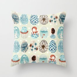 Easter eggs blue colletion Throw Pillow