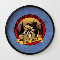 river song Wall Clocks featuring Where In Time and Space Is River Song? by mikaelak