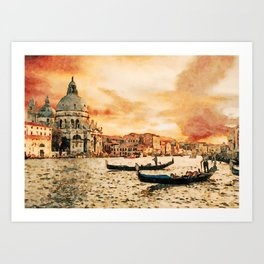 Grand Canal Channel Watercolor Digital Painting Art Print
