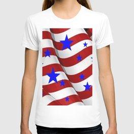 PATRIOTIC JULY 4TH BLUE STARS DECORATIVE ART T-shirt