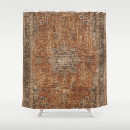 Antique Persian Mustard Rug Shower Curtain