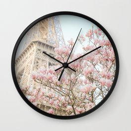 Eiffel Tower in Spring Wall Clock