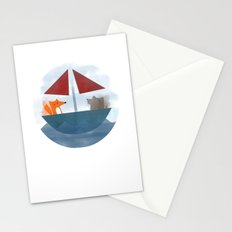 Fox & Wolf in a Tub Stationery Cards