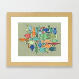 Retro Fish White Framed Art Print