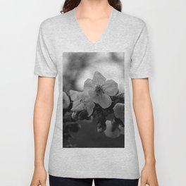 Monochromatic cherry blossoms on branch Unisex V-Neck
