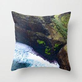 Coastal Cliffs Hawaiian Tropical Beach Throw Pillow