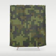 Green Pixel Woodland Camo pattern Shower Curtain