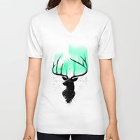 northern lights V-neck T-shirts featuring Northern Lights by angrymonk