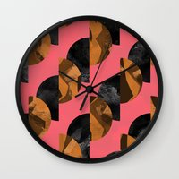 black and gold Wall Clocks featuring gold,black by Georgiana Paraschiv