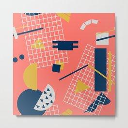 Neon Coral Memphis Toss - Limited Color Palette 2019 Metal Print