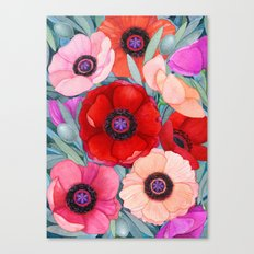 Poppy and Olive Watercolor  Canvas Print