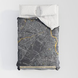 Delhi, India City Map with GPS Coordinates Comforters