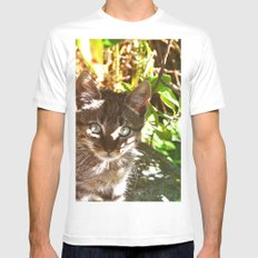 Cat in the shadows White MEDIUM Mens Fitted Tee
