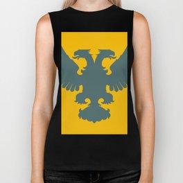 blue-gray double-headed eagle on yellow background Biker Tank