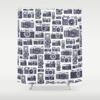 cameras Shower Curtains featuring Film Cameras by creativemushroom