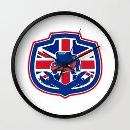 British Auto Repair Shop Union Jack Flag Crest Wall Clock
