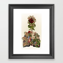 inhale life, exhale love - anatomical collage art by bedelgeuse Framed Art Print