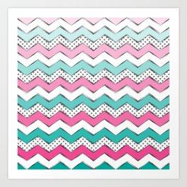 Zigzag & Dots Art Print