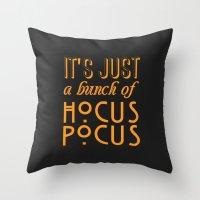 hocus pocus Throw Pillows featuring Hocus Pocus by Pink Fox Designs