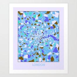 London England Colorful Map Blue Art Print