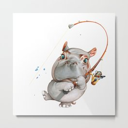 A hippopotamus fishing Metal Print