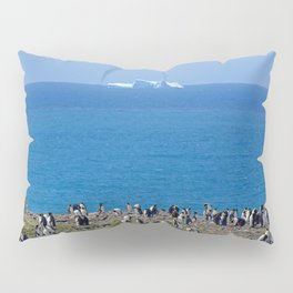 King Penguins in front of an iceberg Pillow Sham
