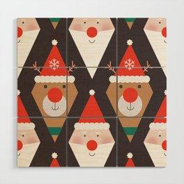 Santa & Rudolph (Patterns Please) Wood Wall Art