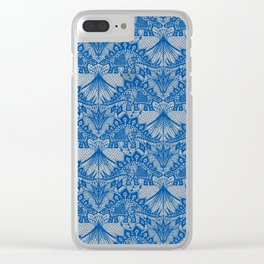 Stegosaurus Lace - Blue Clear iPhone Case