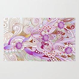 zentangle inspired Flower fire doodle, purple colorway Rug