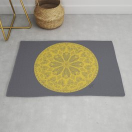 Ultimate Gray and Illuminating Yellow Rose Window Rug