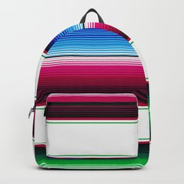 Traditional Mexican Serape in White Multi Backpack