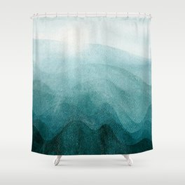 Sunrise in the mountains, dawn, teal, abstract watercolor Shower Curtain