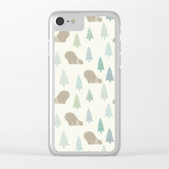 Merry Christmas Polar bear - Animal pattern Clear iPhone Case