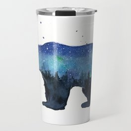Forest Bear Silhouette Watercolor Galaxy Travel Mug