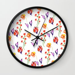 Modern hand painted pink orange purple watercolor hibiscus floral Wall Clock