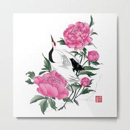 Japanese crane with peonies Metal Print