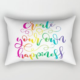 Create Your Own Happiness | Original Rainbow Palette Rectangular Pillow