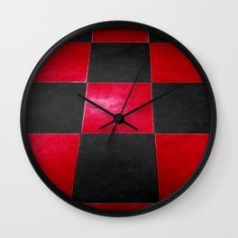 Red and Black Checkers Wall Clock