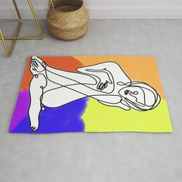 Abstract female colorfully drawing Rug
