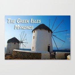 Windmills on Mykonos Island Greece Canvas Print